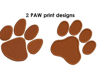 Paw Embroidery Design - 2 designs each in 2,3,4,5 inch size instant download