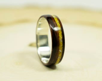 Macassar Ebony Bentwood Ring with Sterling Silver and Mother of Pearl
