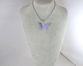 Butterfly pendant necklace purple silk on silver suede cord - m-romantic and spring.