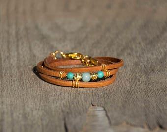 Turquoise Beaded Bracelet, Wrap Triple Leather Bracelet, Wrapped Women Leather Bracelet, Gold Beads, Glass Beads, Cuff Wrapped Bracelet.