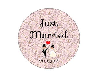 "Wedding magnet, badge, mirror, bottle opener ""Just Married"" Liberty rose"