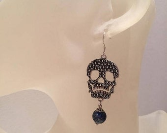 Dark blue skull earrings
