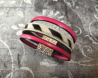 Gift for birthday Zebra Leather Bracelet