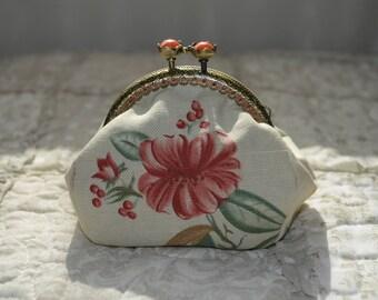 Wallet linen flower pattern fabric.
