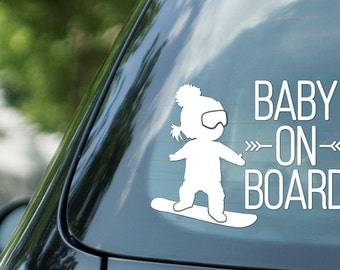 Baby on board sign snowboarding, girl on snowboard, vinyl on decal paper, car decal, kid on board