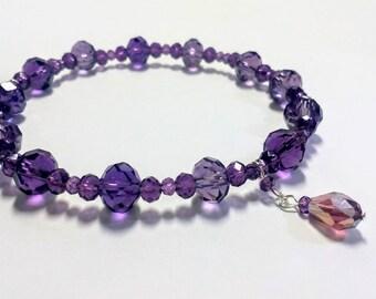 Purple crystal bracelet : Tessa bracelet, stretch bracelet, charm bracelet