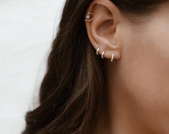 CZ Tiny Hoop Earrings, Hoop Earrings, Tiny Hoops, Small Hoops, Gold Hoop earrings, Dainty Earrings, Dainty Jewelry