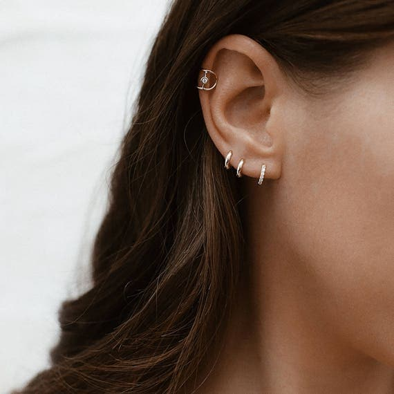 CZ Tiny Hoop Earrings Hoop Earrings Tiny Hoops Small Hoops