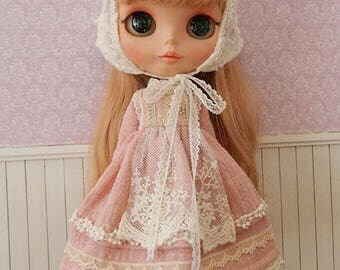 Forest style Quaint Pink linen Lace Long Dress with Headdress for Blythe/Licca Doll BD005