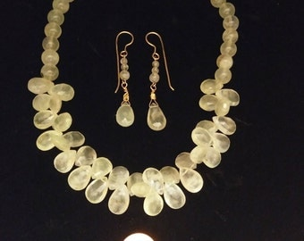 Prehnite and Green Quartz Necklace and Earrings