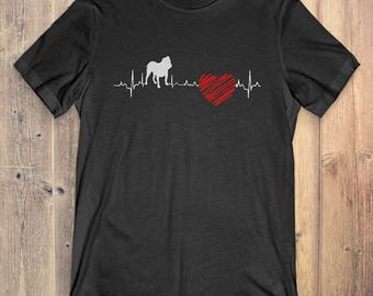Bulldog Dog T-Shirt Gift: Bulldog Heartbeat