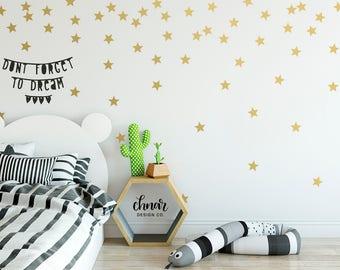 Star Wall Decals - Gold Wall Decals, Wall Confetti, Nursery Decor , Kids Playroom, Bedroom Wall Decor, Vinyl Decals, Modern Office Decor,