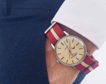 White mens watch Cornavin, Vintage watch, Ussr watch, 80s watches, watches for men, watches for him, gift for him, russian watch