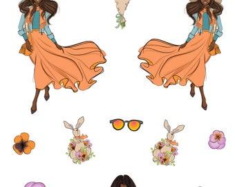 Spring Girls- Planner Stickers