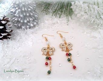 "These elegant ""Christmas"" - Moon stone beads - bow with Rhinestone and pearl beads, green and Red earrings"