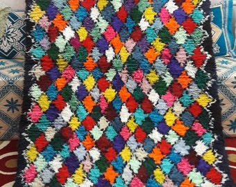 BOUCHEROUITE RUG rugs large MOROCCAN berber handmade 4'42 x 11'3