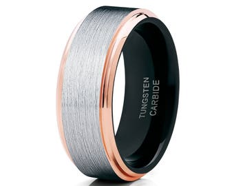 Rose Gold Tungsten Wedding Band Tungsten Carbide Ring Men & Women Brush Silver Ring Tungsten Wedding Band Comfort Fit