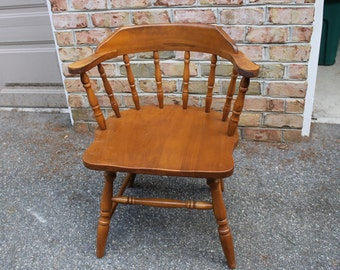 Vintage Wooden Captain's Chair, Spindle Back, Mid-Century, Dining Room Furniture, Dining Chair, Oak Wood, Home Decor, Furnishing