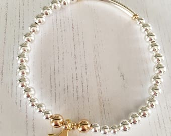 Sterling Silver & Gold Bead Bracelet with Gold Star Charm