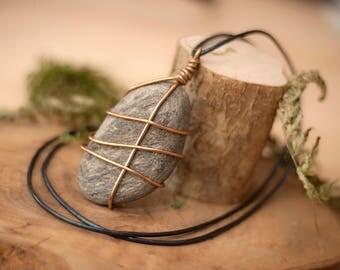 Wire Wrapped Necklace, minimal necklace, Boho jewelry, bohemian jewelry, Stone Jewelry, hippy jewelry, boho necklaces, minimalist jewelry