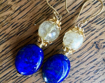 Blue lapis lazuli with citrine and vermeil earrings