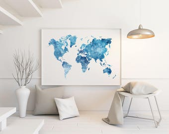 Watercolor map of the world in navy blue indigo teal cobalt blue watercolor world map large world map wall art large world map poster gumiabroncs Images