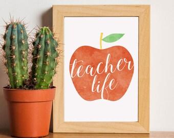 Teacher SVG, Teacher Life, Teacher Gift, Teacher Print, Teacher Apple SVG, SVG, Cut File, Cuttable, Wall Art, Print, Vector, Silhouette
