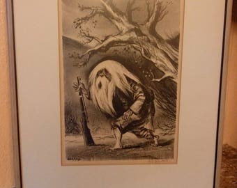 Vintage Signed  Rip Van Winkle lithograph by William Gropper
