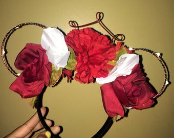 Red Floral Wired Disney Inspired Ears (optional lights)