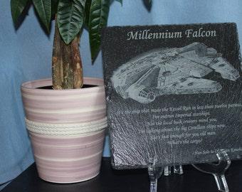 Laser Engraved Millennium Falcon