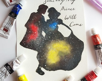 Some Day My Prince Will Come Disney's Snow White Celestial Watercolour Painting Print in A5