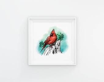 Cardinal - Printable Wall Art - Pen and Color