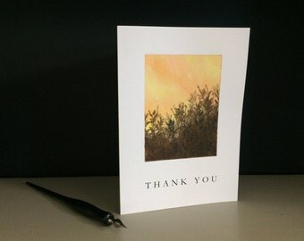 Sunset and field thank you card, individually handmade, not a reproduciton: A7, notecards, fine card, thanks, gratitude, SKU TYA7....