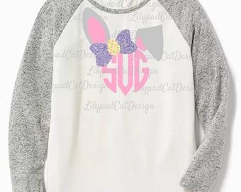 Monogram Bunny SVG, monogram svg, bunny svg, easter svg, cute rabbit, birthday shirt, bunny cut file, bow svg, birthday decorations, DXF PNG