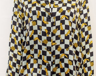 ESCADA Margaretha Ley Long Sleeve  Silk blouse with Great Print
