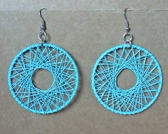 Dangle Blue Wire Earrings. Summer Fashion. Modern Jewelry. Hooks are Nickel free Alloy.