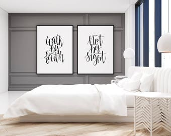 Walk By Faith Not By Sight | Printable Wall Art | SET of 2 | Quote Prints | INSTANT DOWNLOAD | Printable | Home Decor | Art Prints