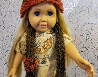 18 Inch Doll Clothes Accessories- Brown Hand Knit Hat and Scarf