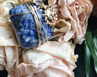 CELESTIAL SUN SODALITE   crystal necklace   wire wrapped