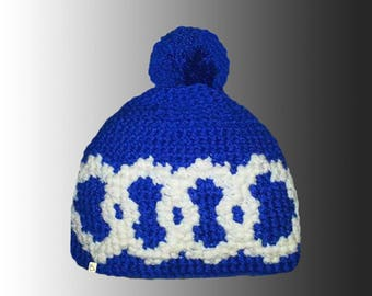 Handmade Custom Pattern Crochet Bobble Hat Bespoke Warm Winter Pompom Hat
