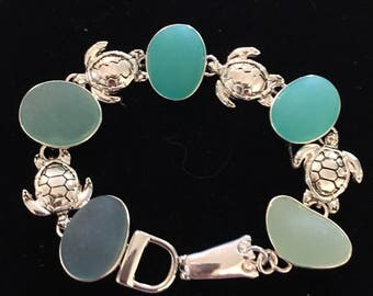 Aqua Sea Glass And Sterling Silver Turtle Bracelet