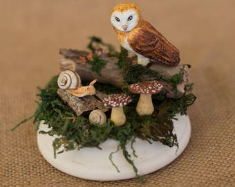 Figure Owl Scenery Nature sculpture Owl animals Spirit forest Modeling clay polymer Decoration Home Wedding Detail