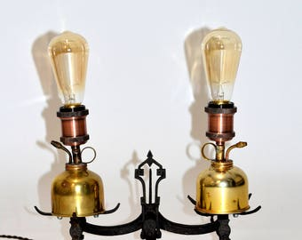 Cast Iron and Brass Oil Can Scale Lamp