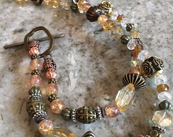 Mixed Metal Rose and Crystal Beaded Necklace
