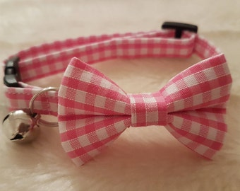 Handmade Cat Collar With Bow - Pink Gingham, Safety Release Buckle, Adjuster and Bell