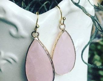 Rose Quartz Gemstone Earrings-Handmade Earrings-Dangle Earrings
