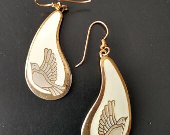 "Vintage Laurel Burch ""SWALLOW"" Earrings in Cream and Gray"