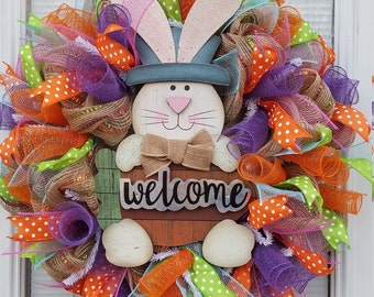 Easter Bunny Welcome Mesh & Ribbon Wreath