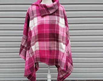 Pink & White Fleece Poncho