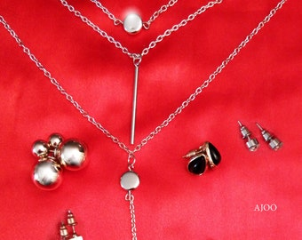6 Piece Jewelry set Silver color Necklace 3 Chains Pendants Stud Earring Gold color Stone (A59)